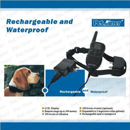 Black Waterproof Remote Pet Training Collar LCD Displays With 300 Meters Range